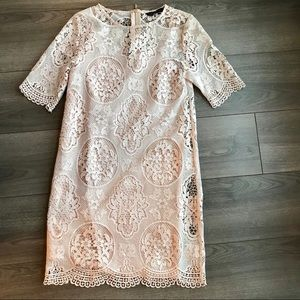Zara Basic Nude/Light Pink Lace Dress